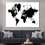 black and white world map wall art
