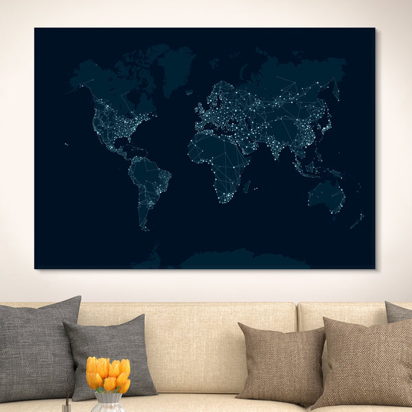 city lights world map wall art
