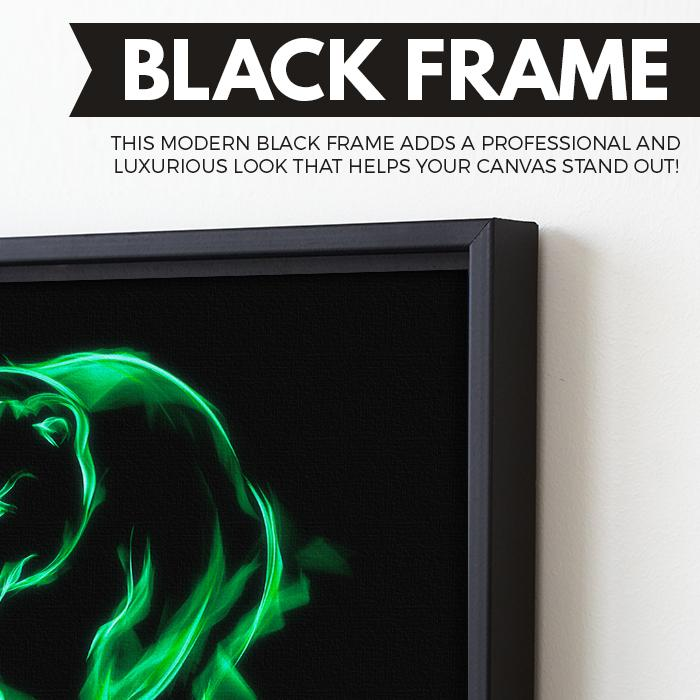 Green Flaming Bear wall art black frame