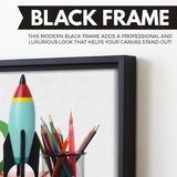 Rockets wall art black floating frame
