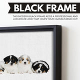 puppies art black floating frame
