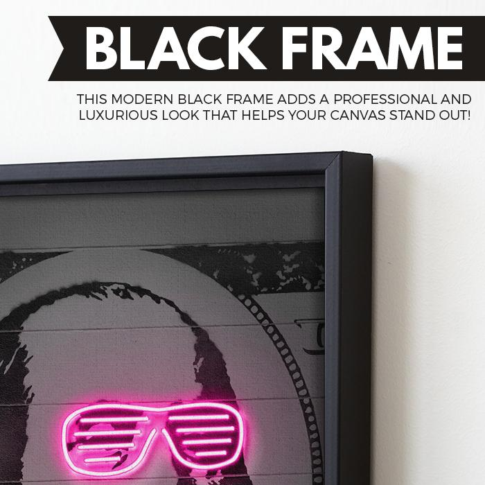 Neon Franklin wall art black frame