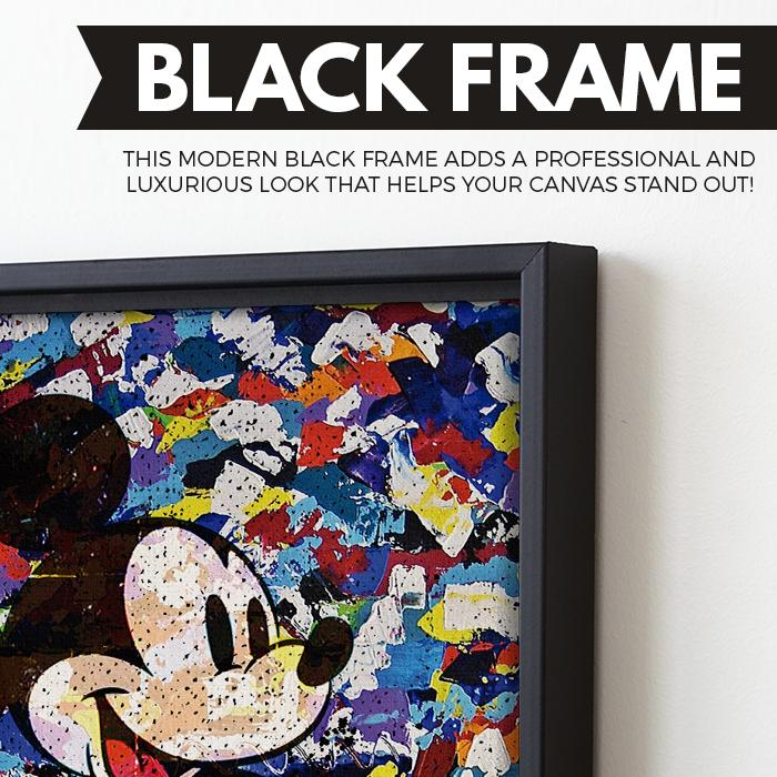 The Camo Mickey Mouse wall art black frame