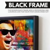 Laughing Leo wall art black frame