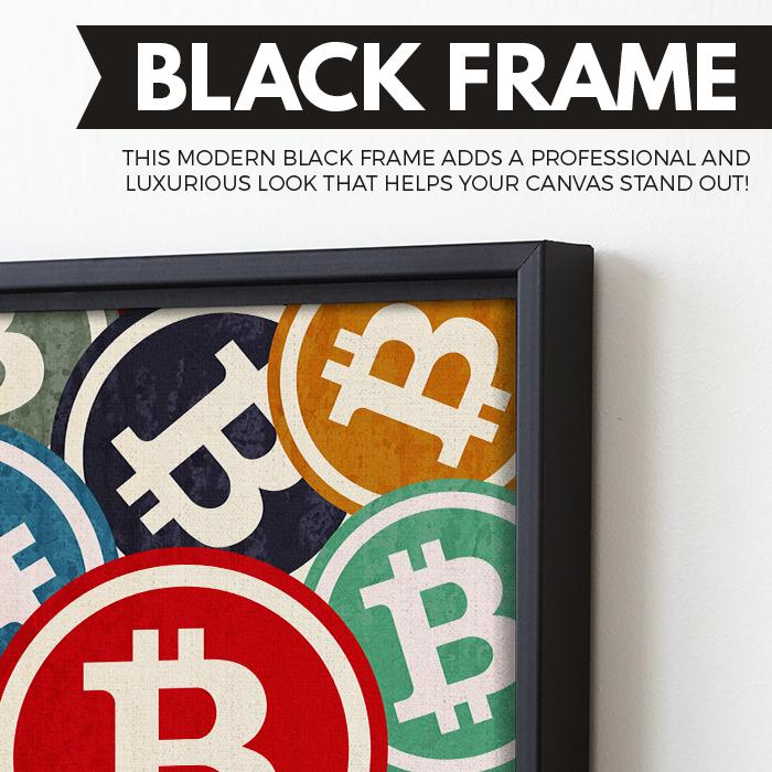 Bitcoin Pop wall art black frame