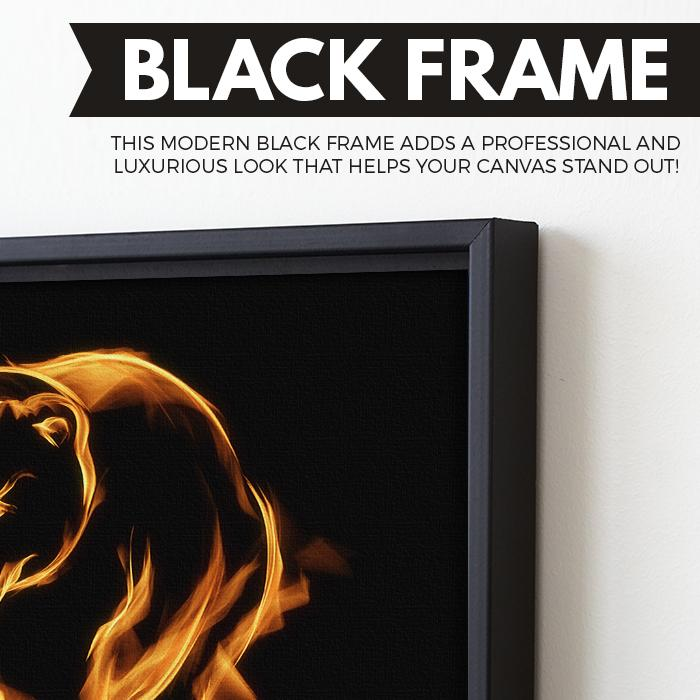 Flaming Bear wall art black frame