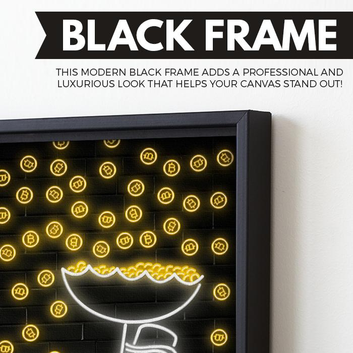Bitcoin Rain wall art black frame