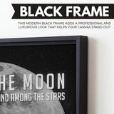 Aim For The Moon Even If You Miss You'll Land Among The Stars wall art black frame