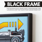 Back To The Future wall art black frame