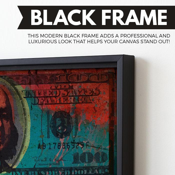 Color Pop $100 Benjamin wall art black frame