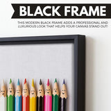 Happy Pencils wall art black floating frame