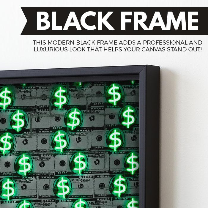 Money Money Money wall art black frame