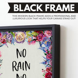No Rain No Flowers wall art black frame