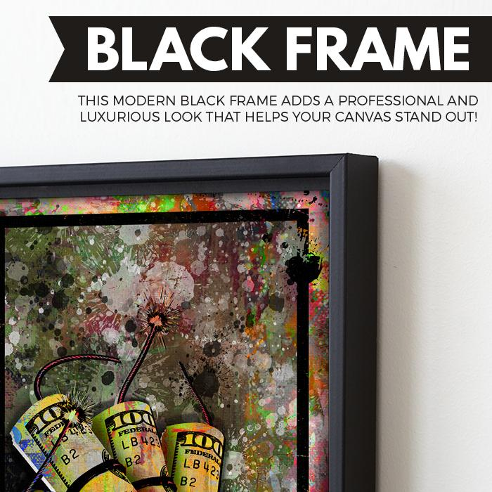 Money To Blow wall art black frame