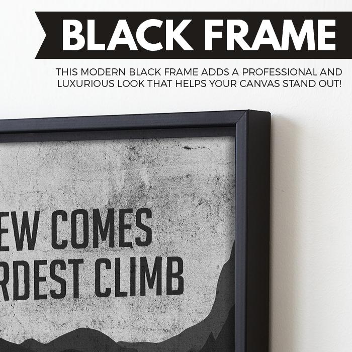 The Best View Comes After The Hardest Climb wall art black frame