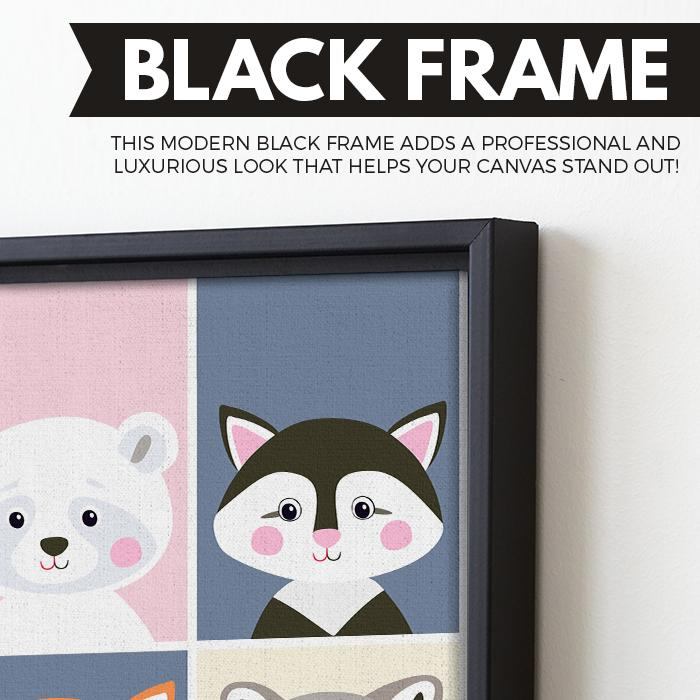 Children Cartoon wall art black floating frame