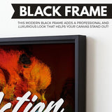 Action is King wall art black frame