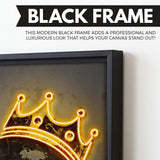 Neon Notorious wall art black frame