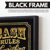 Cash Rules wall art black frame