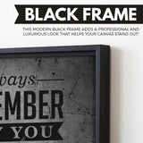 Always Remember Why You Started wall art black frame