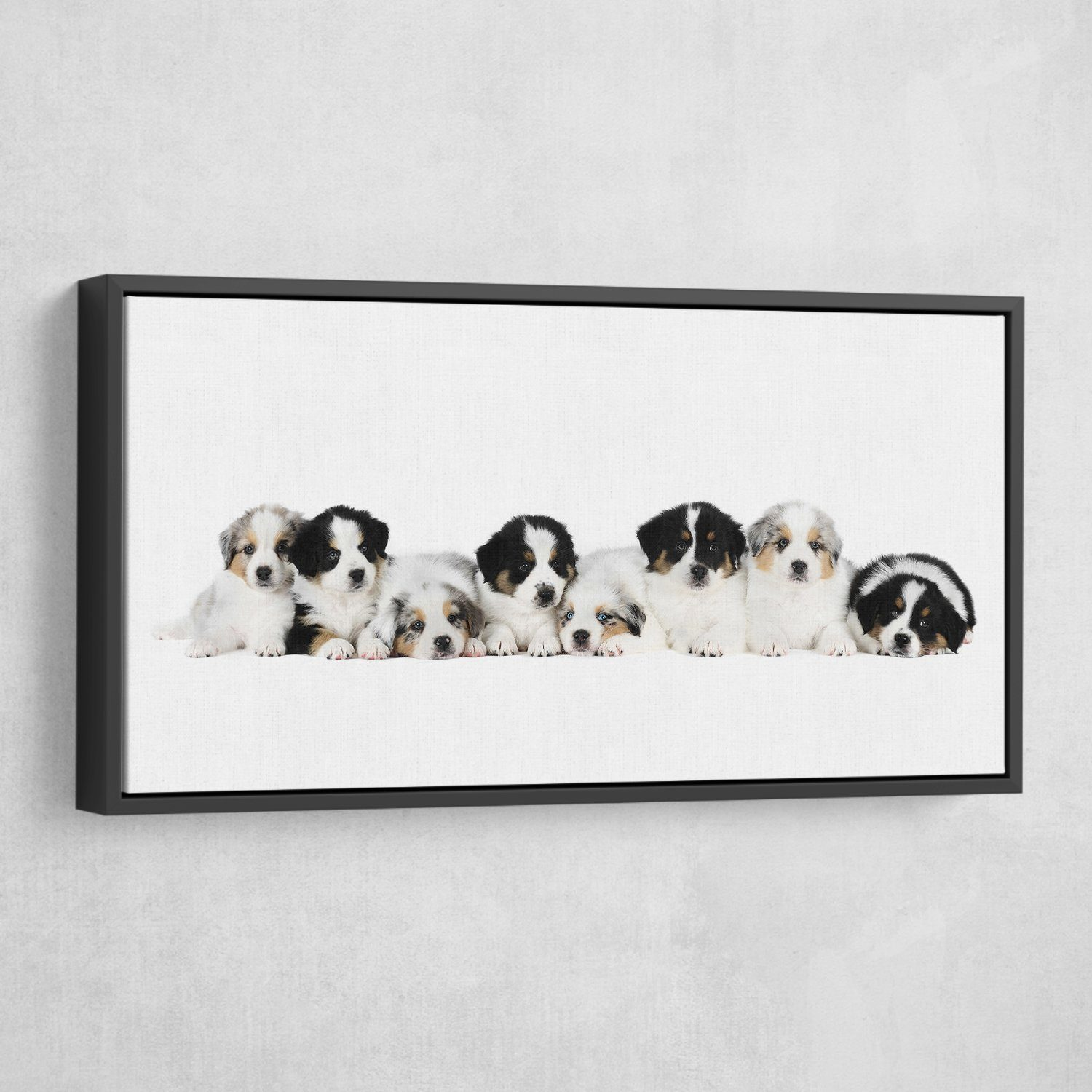 puppies wall art black frame