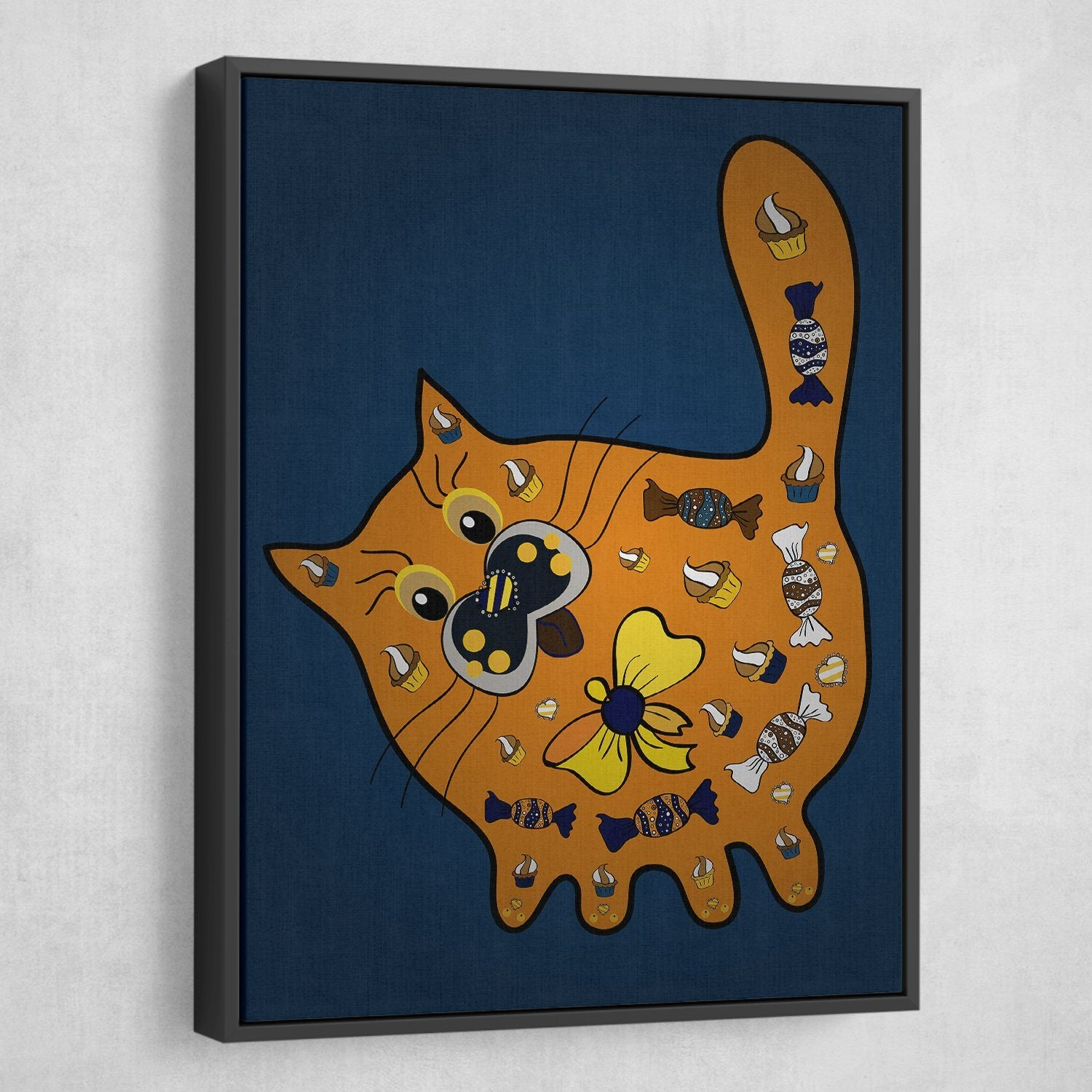 Doodle cat wall art black floating frame