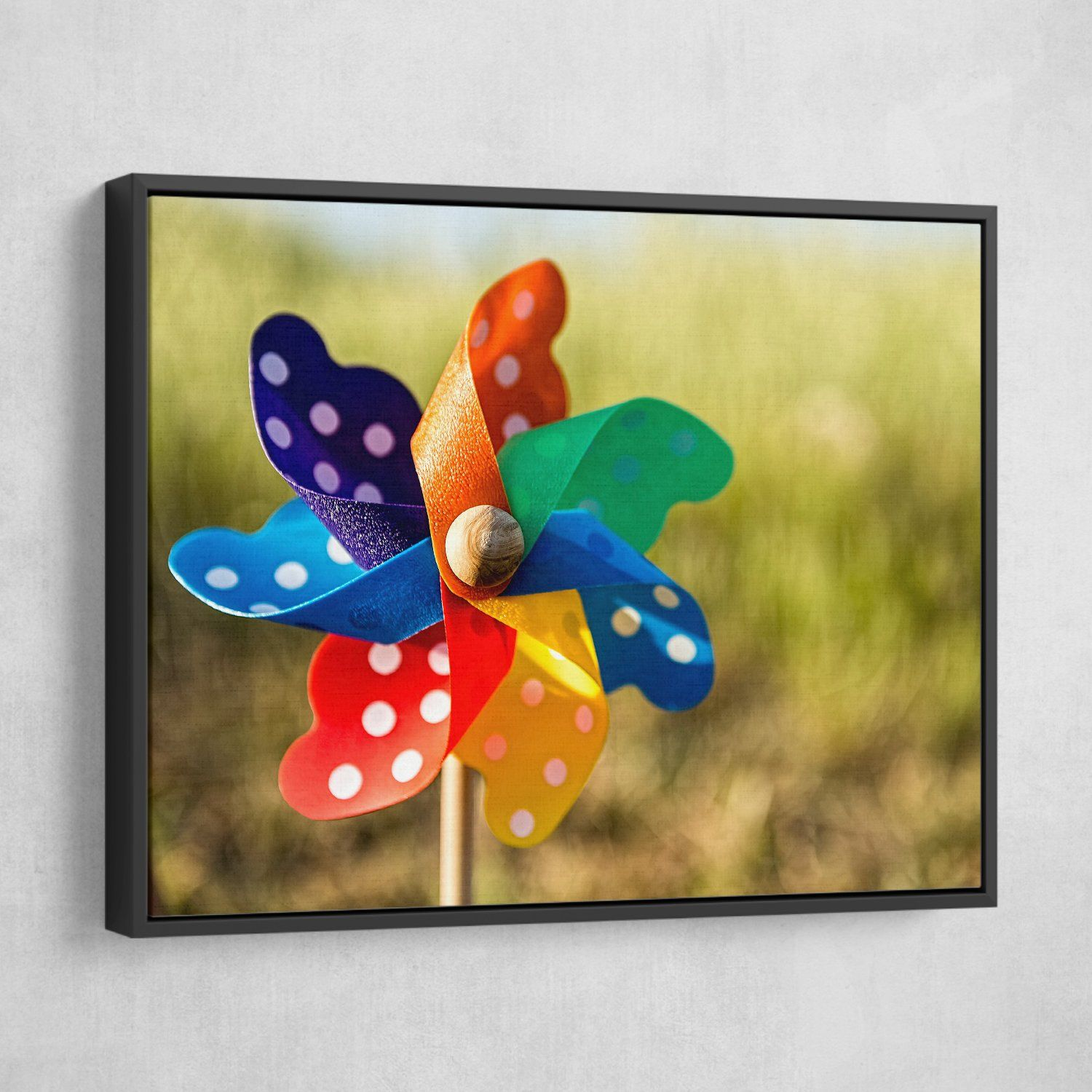 Pinwheel wall art black frame