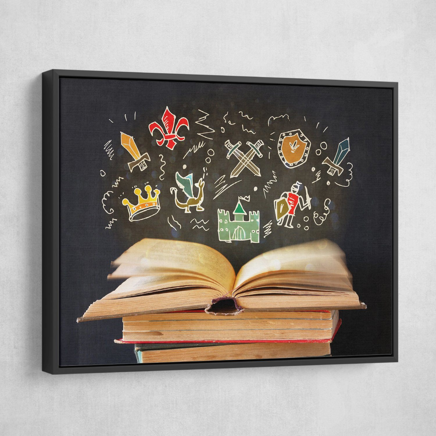 Open Book wall art black floating frame