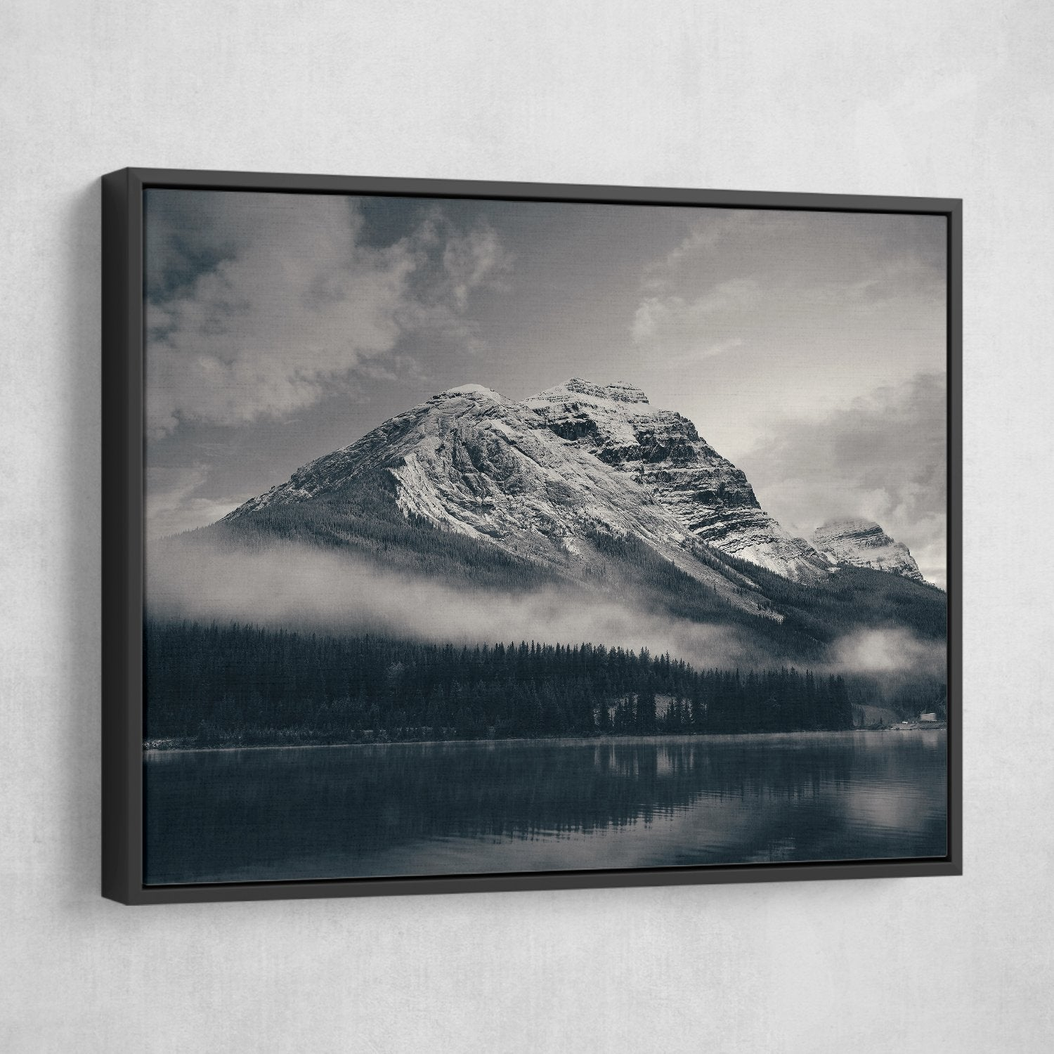 Snow Capped Mountain - Banff National Park wall art black floating frame