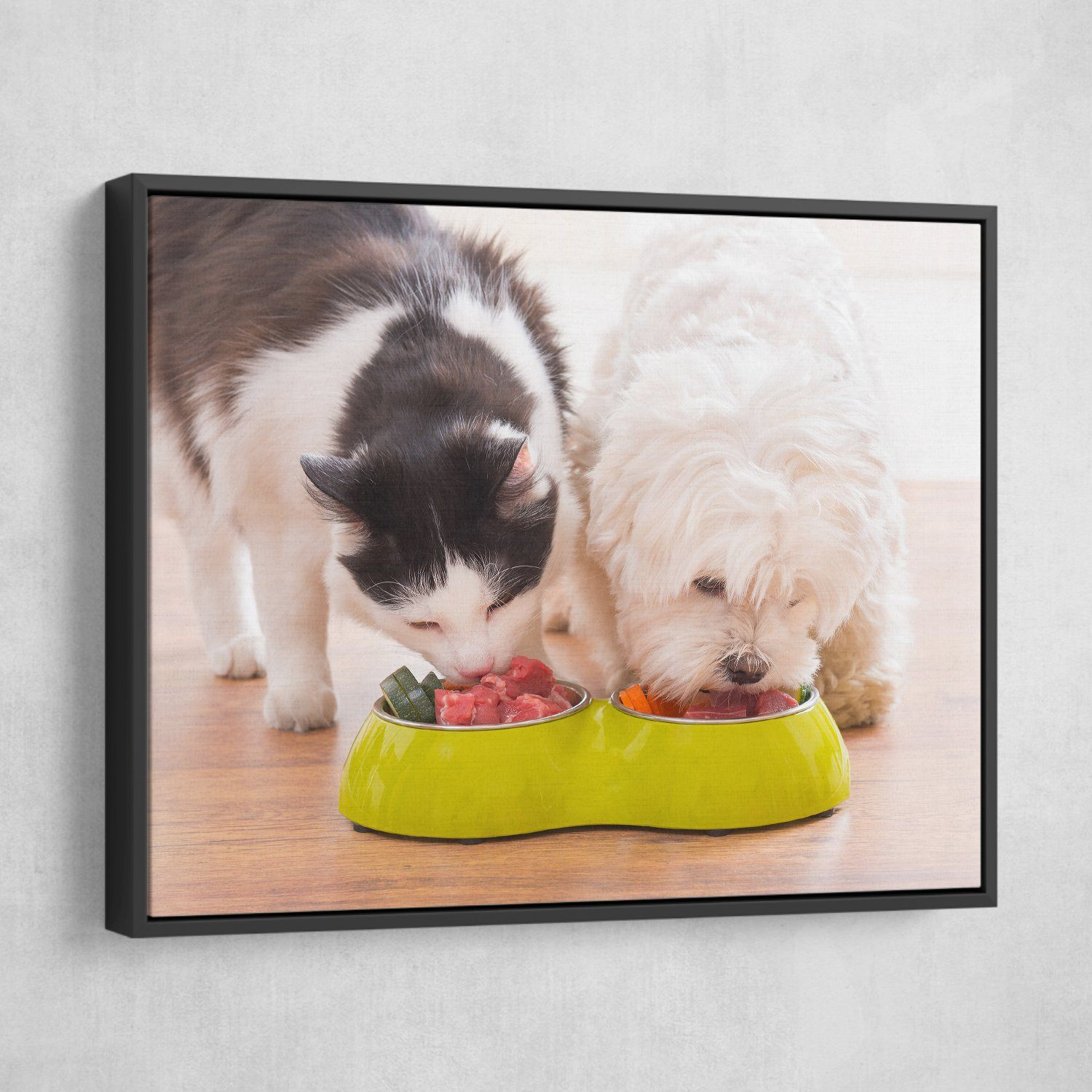 dog and cat wall art black frame