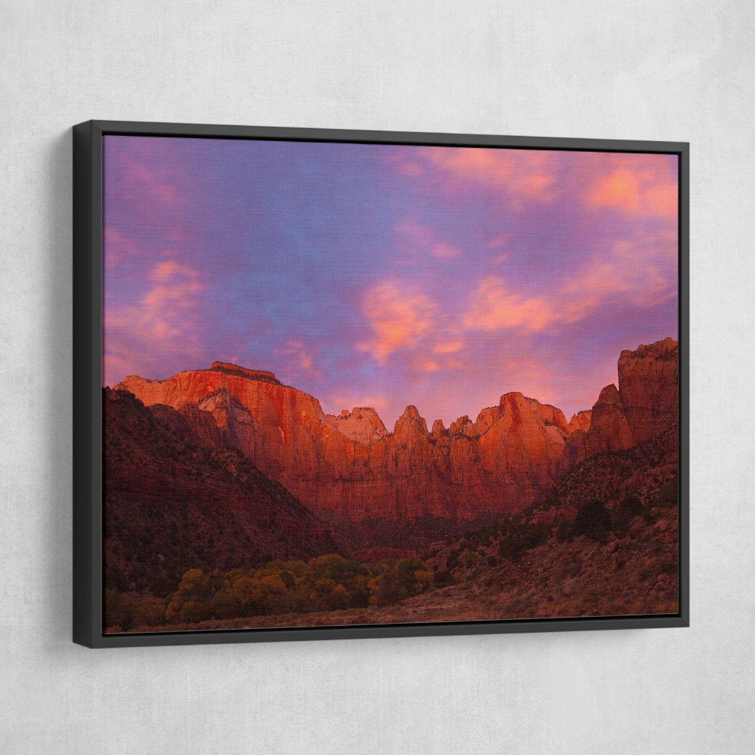 Towers of Virgin - Zion Canyon National Park black frame wall art