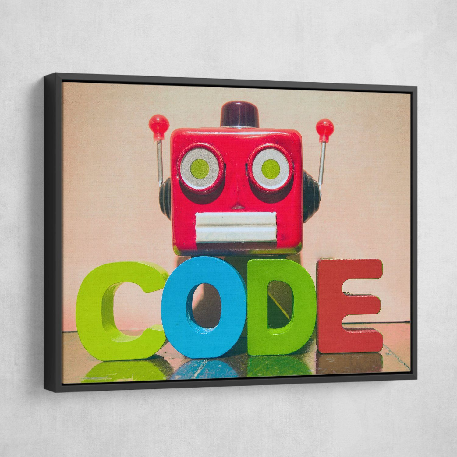 It's a Code wall art black floating frame