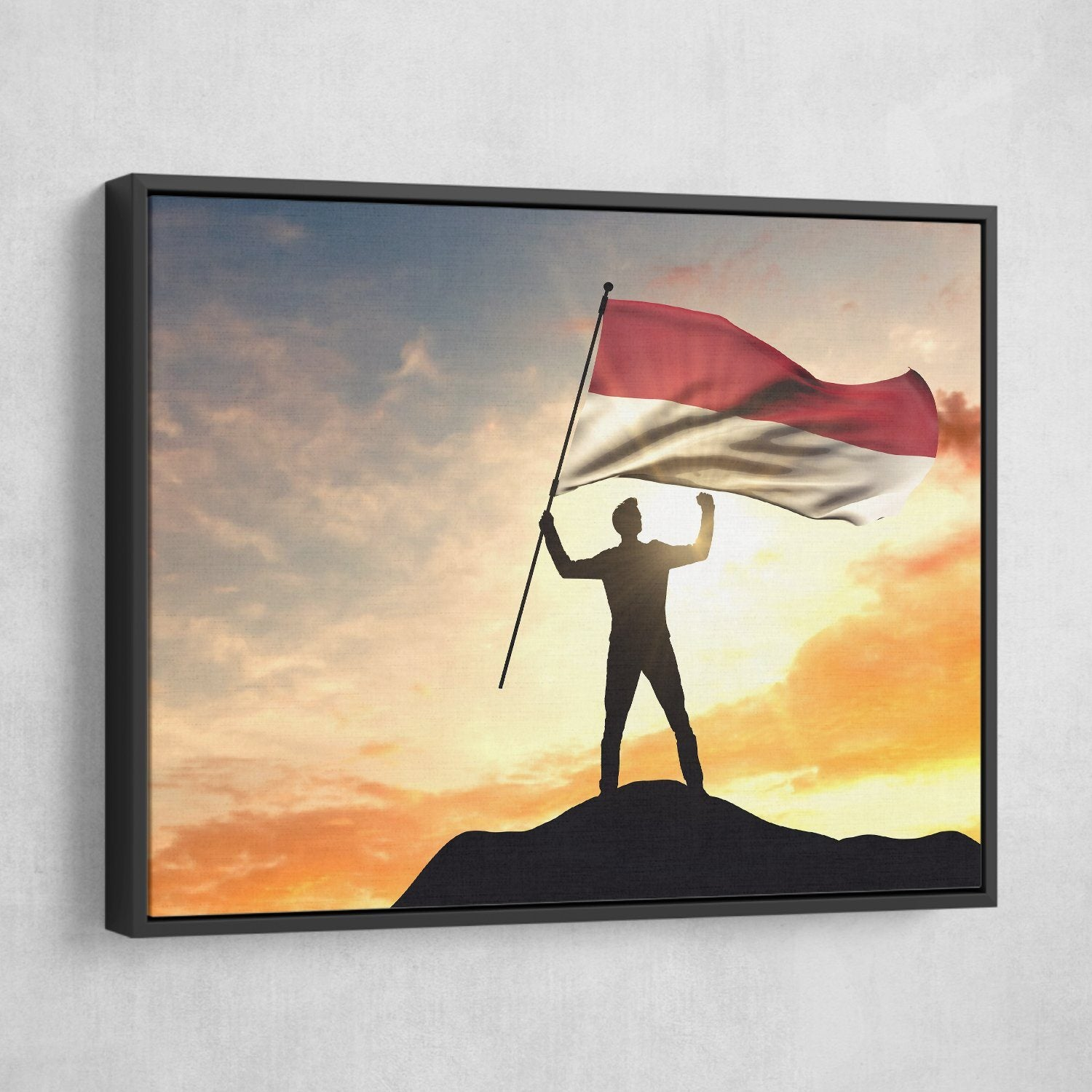 Indonesia Flag wall art black frame