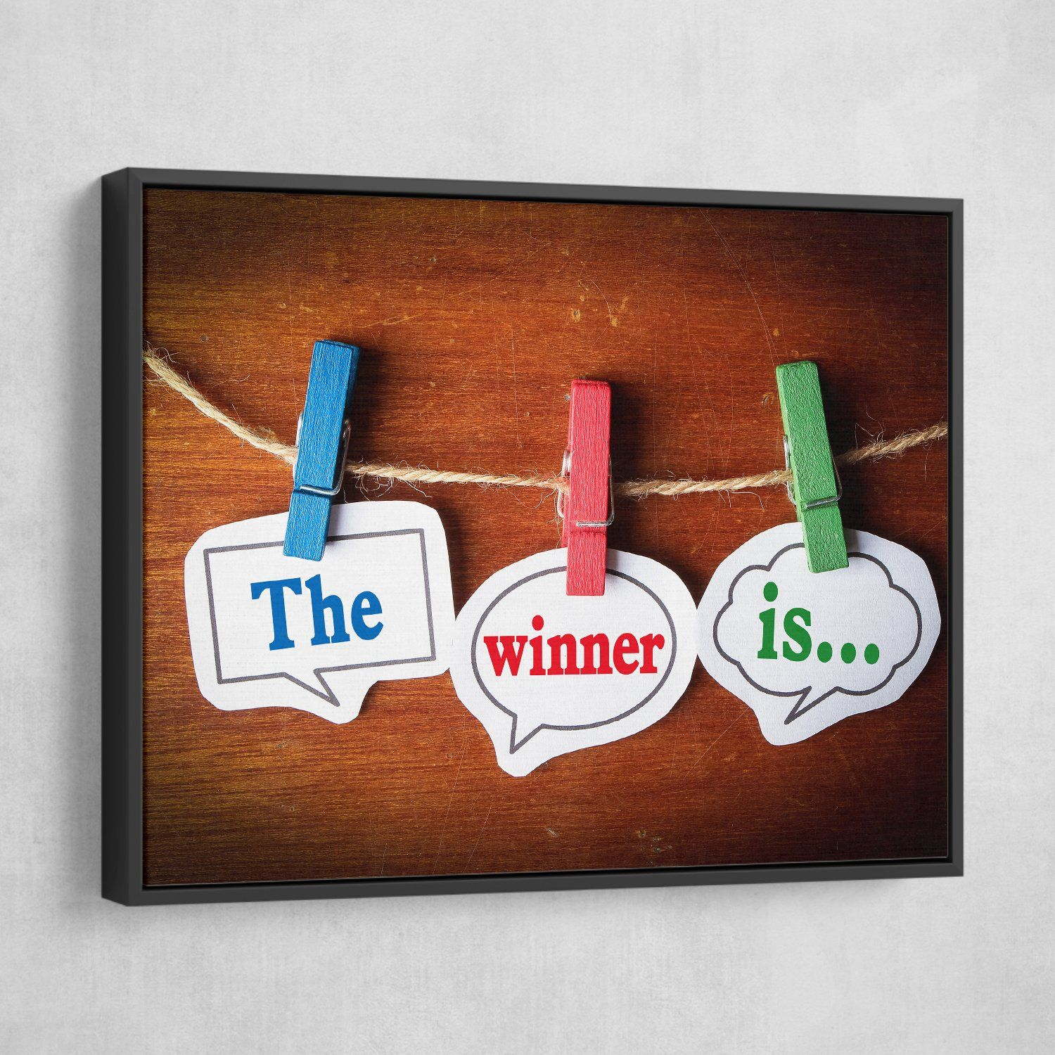 Winner wall art black frame