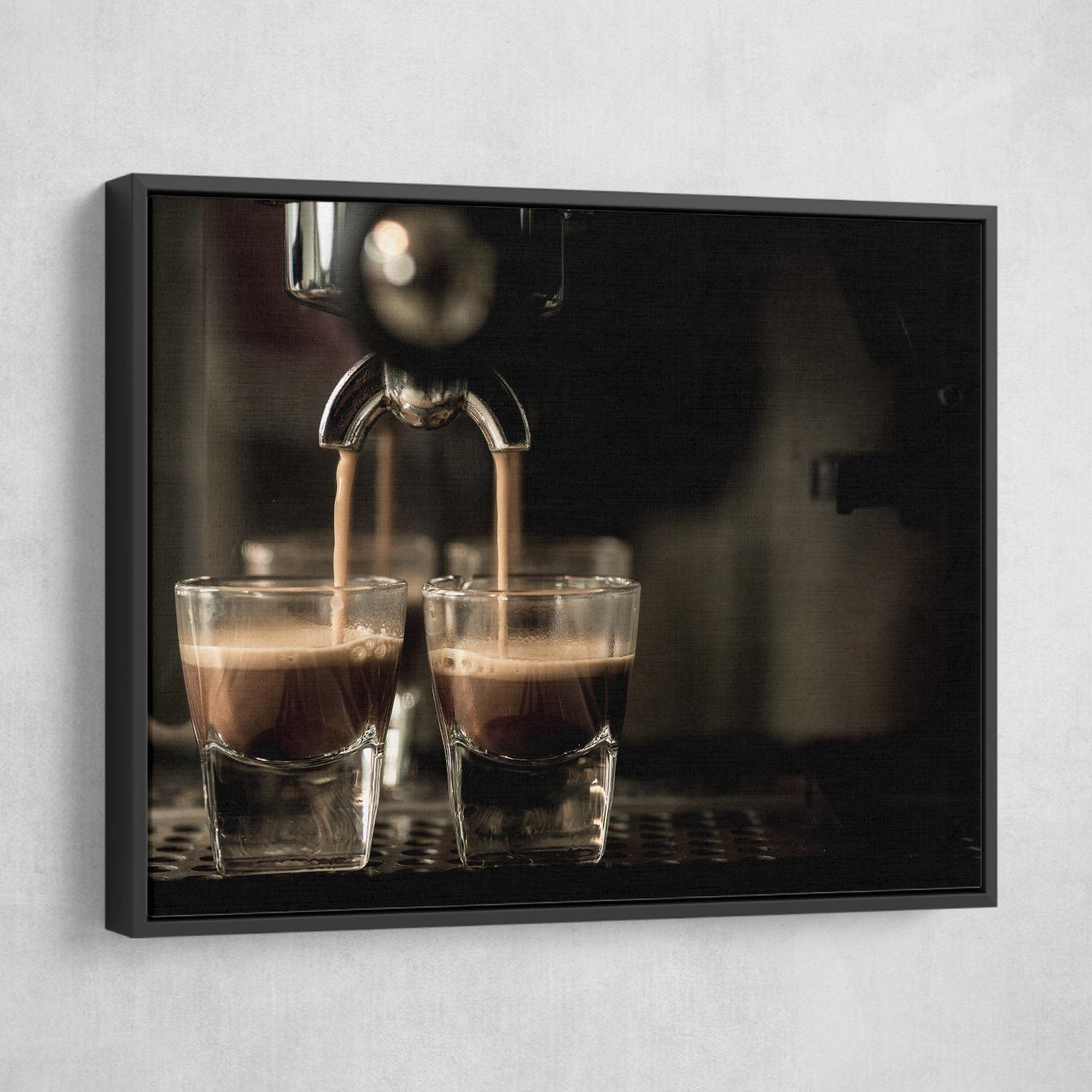 Coffee Machine wall art black floating frame