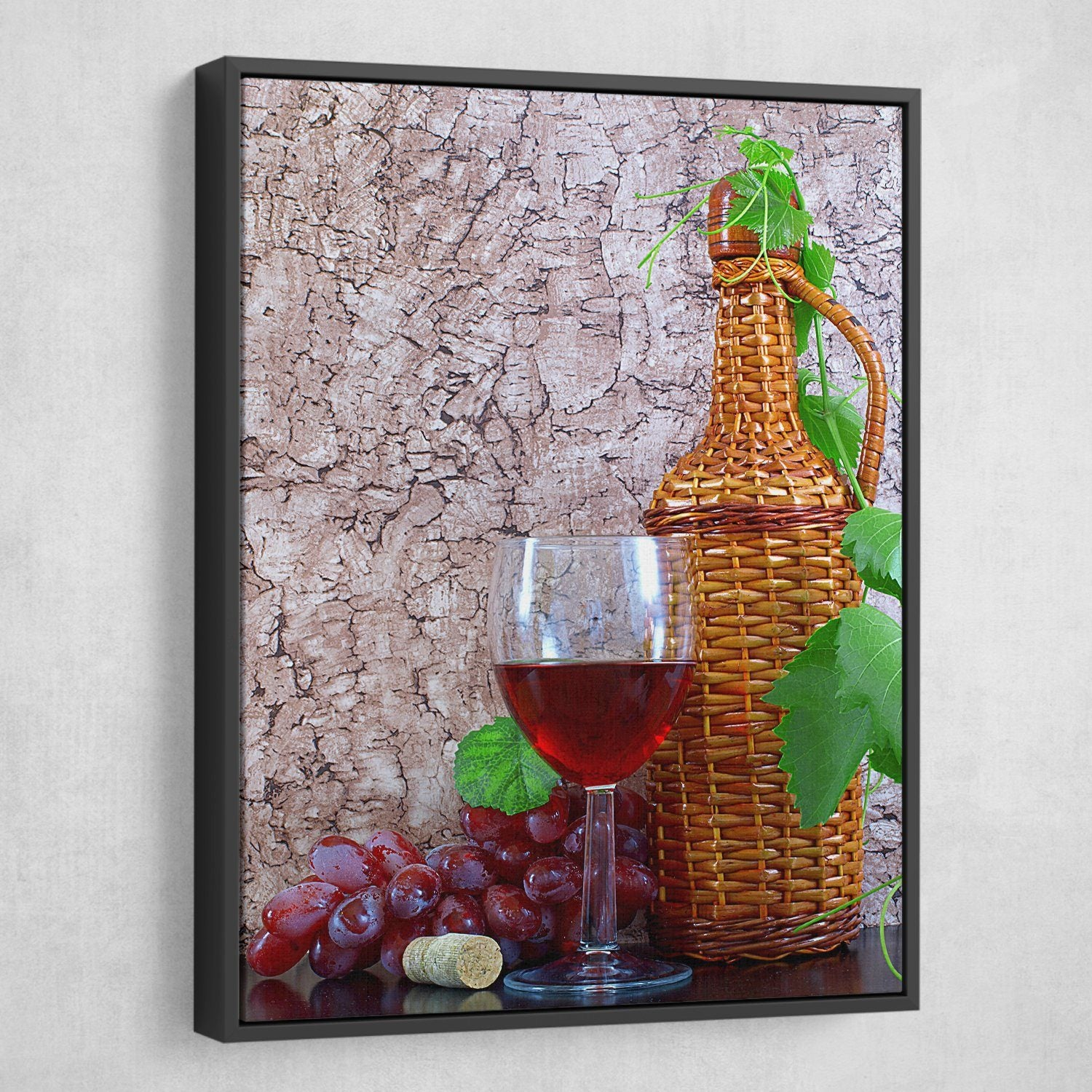 Wine and Vine wall art floating frame