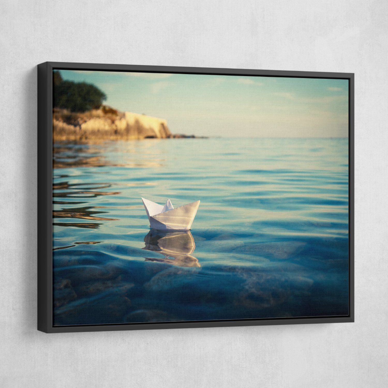 Origami Paper Boat wall art black floating frame