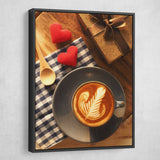 Hearts and Coffee wall art black floating frame