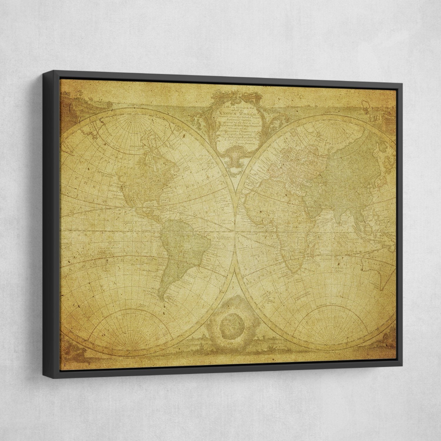 framed Antique World Map wall art