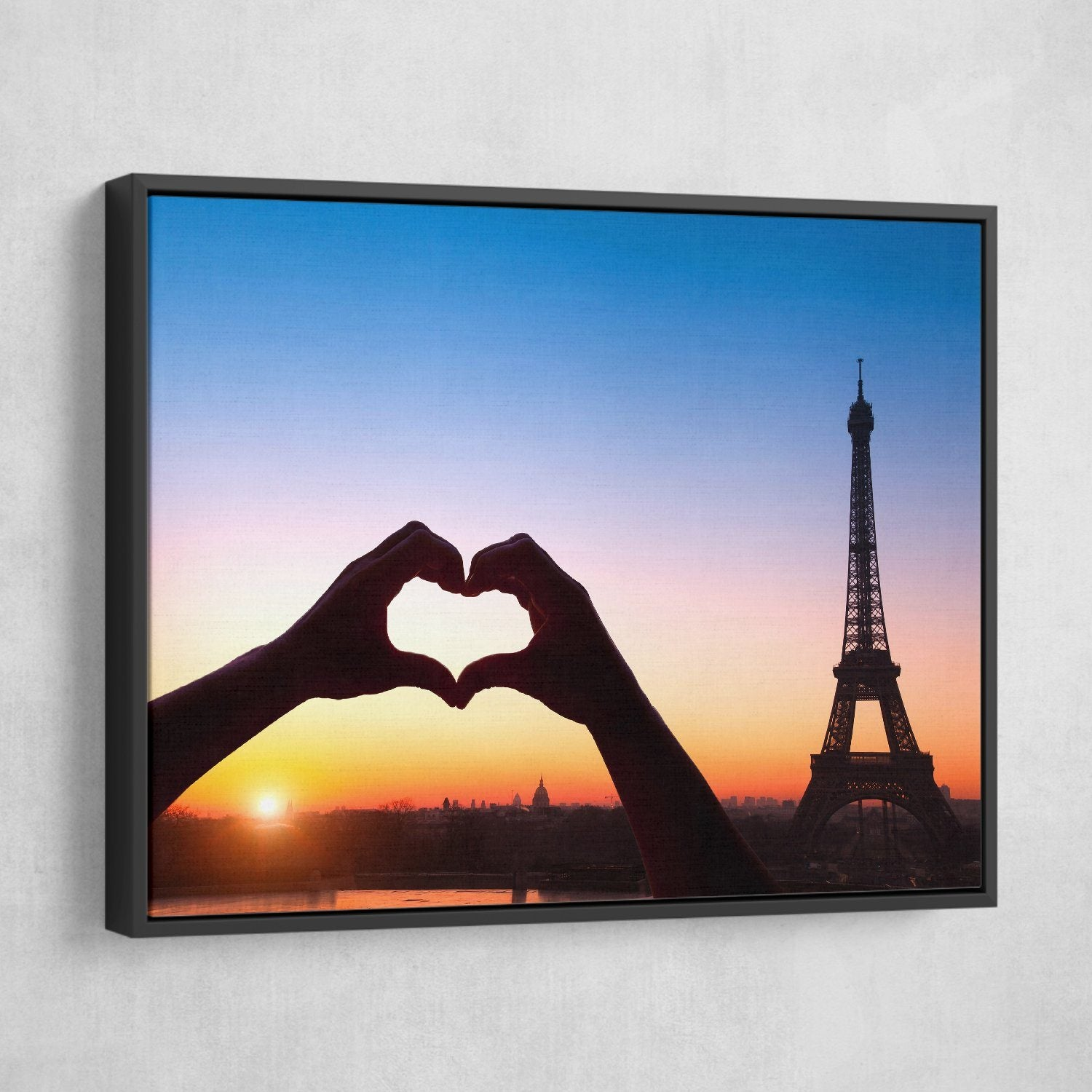 Love in Paris wall art black frame