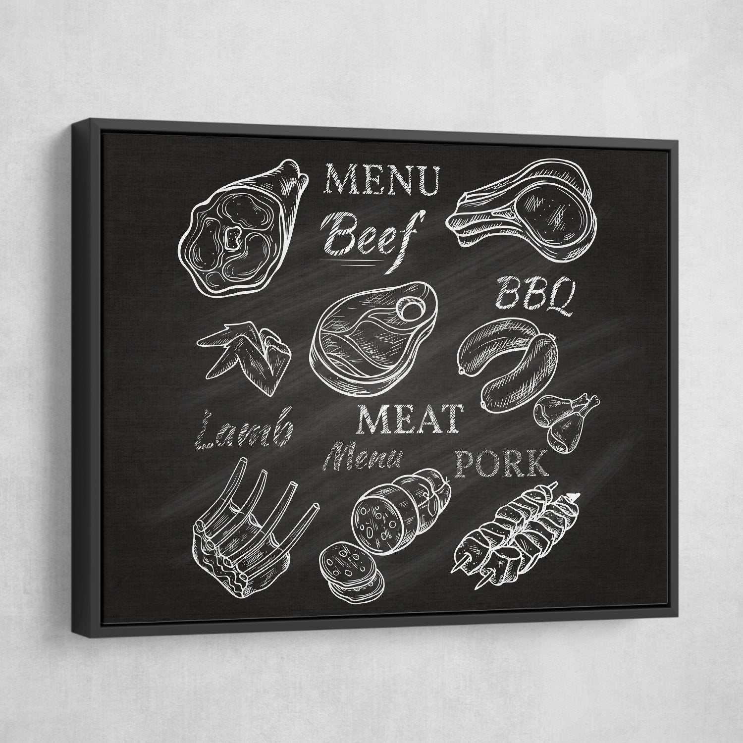 Menu wall art black frame