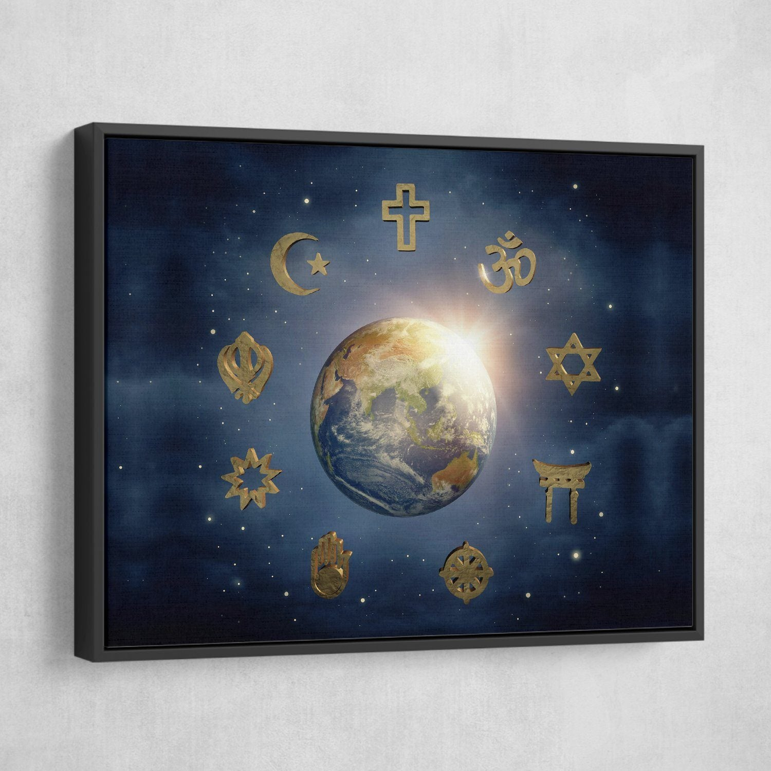 different beliefs wall art black frame