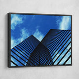 Abstract building wall art black frame