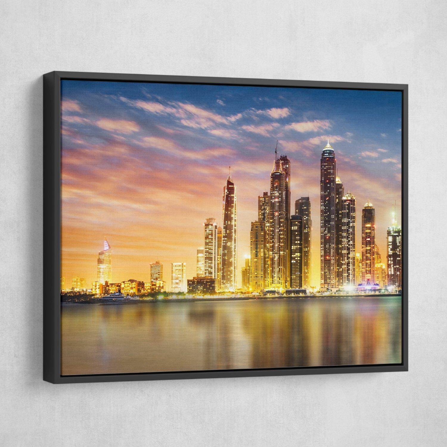 Dubai Marina Skyline wall art black frame