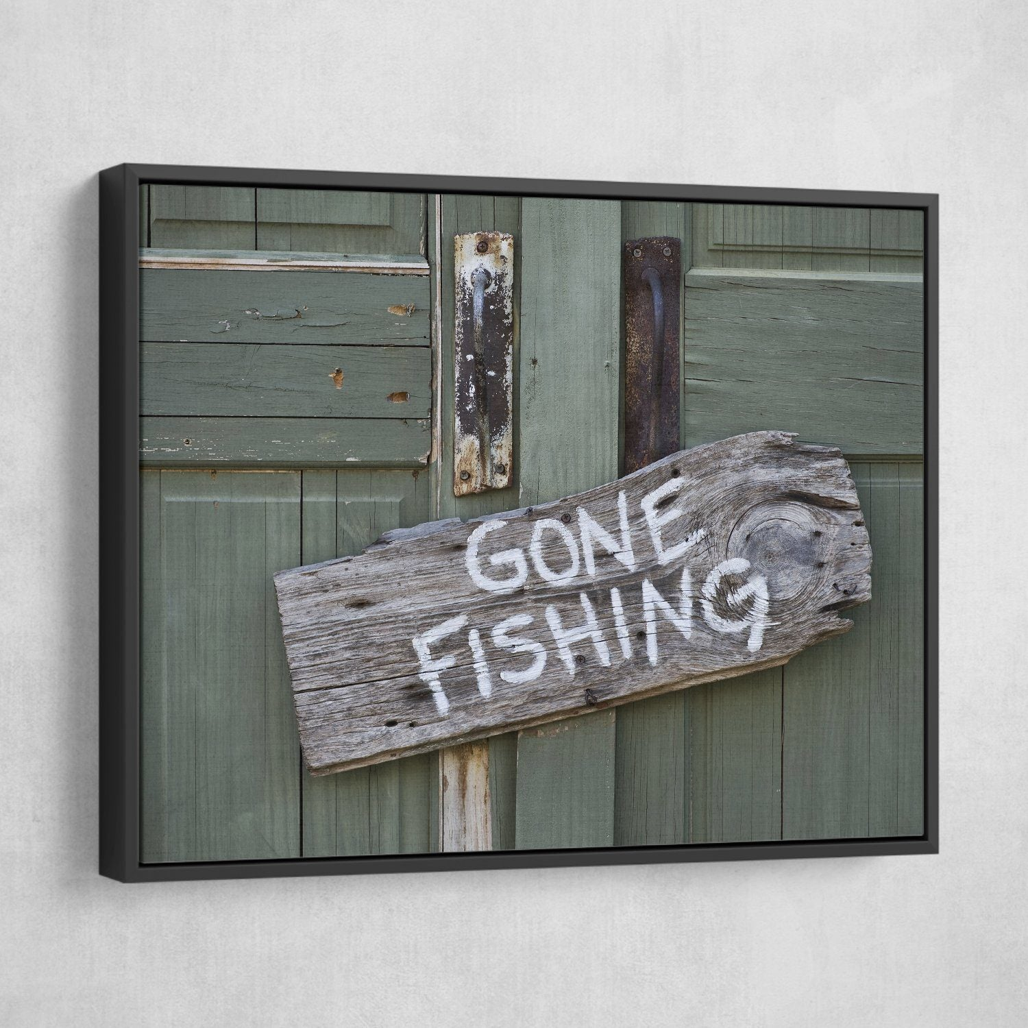 Gone Fishing wall art black floating frame