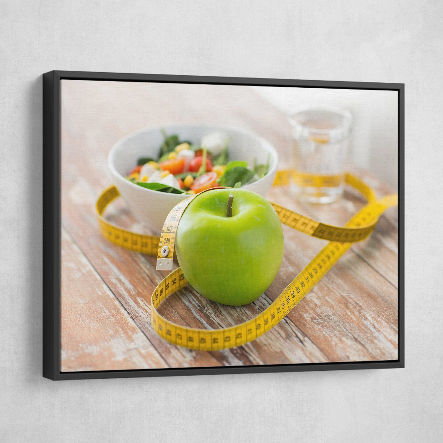 Green Apple wall art black frame