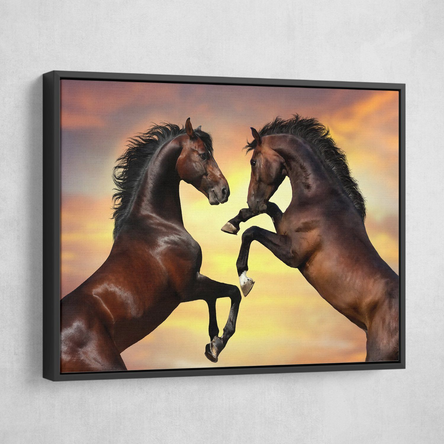 Head to Head Stallions wall art floating frame