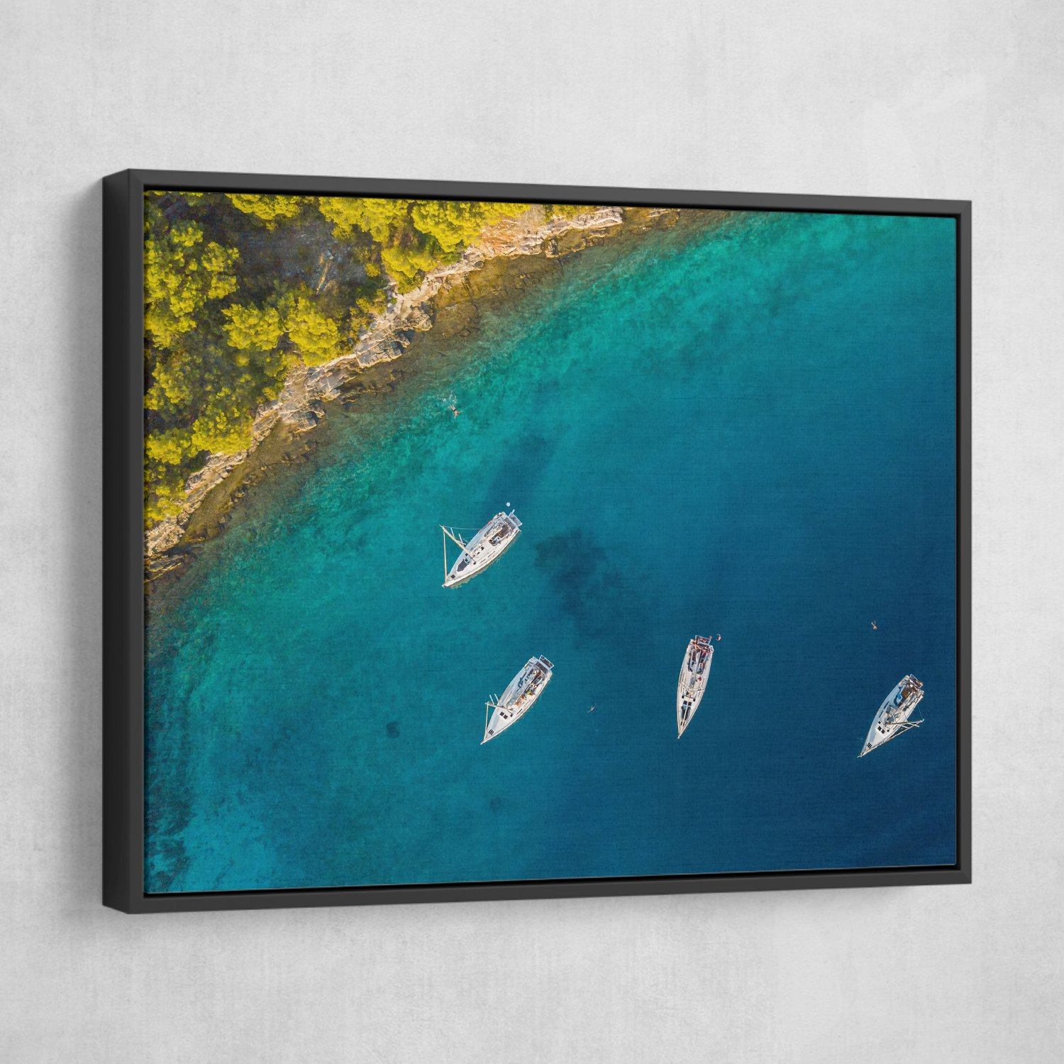 Aerial View of Sailing Boats wall art black floating frame