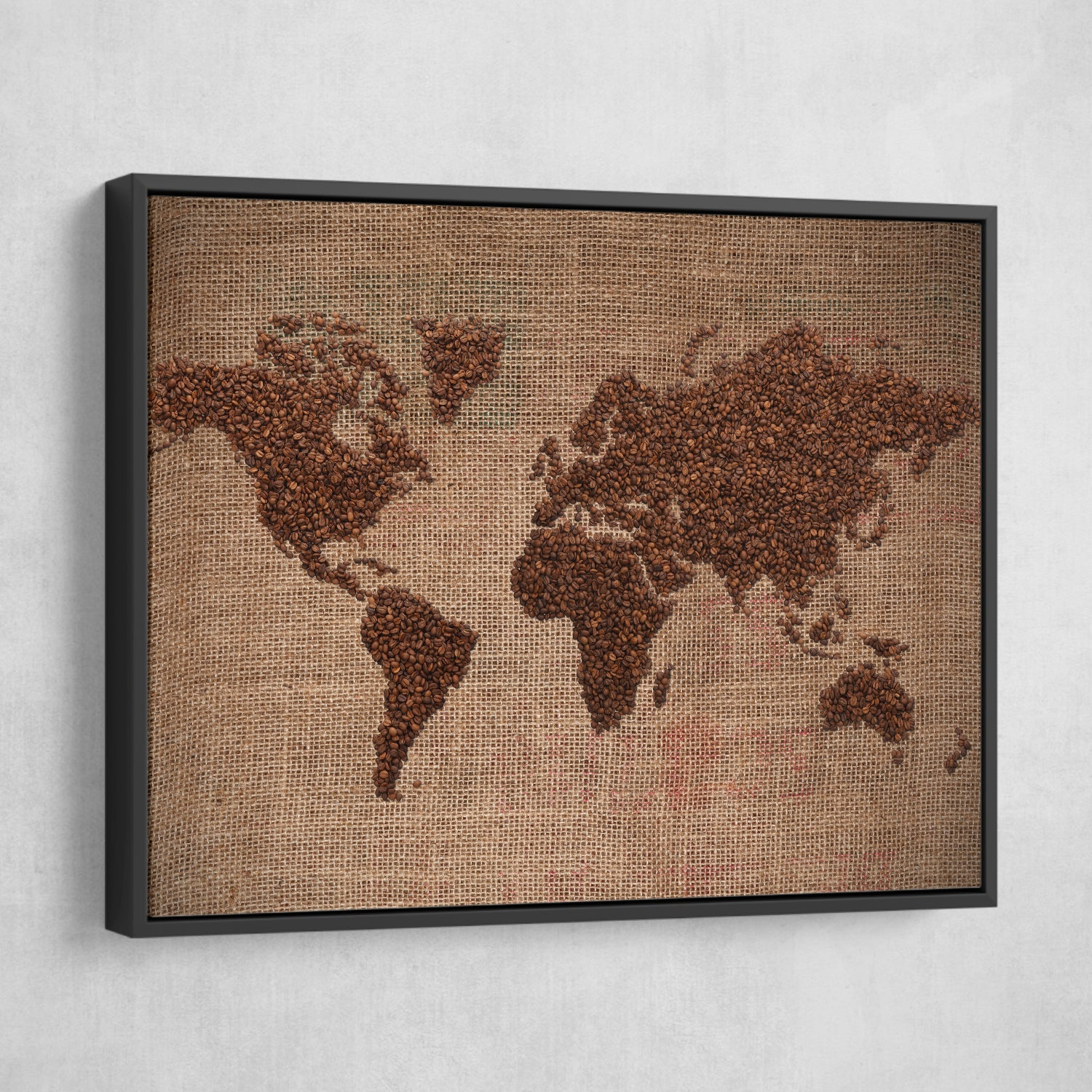 Coffee world map wall art