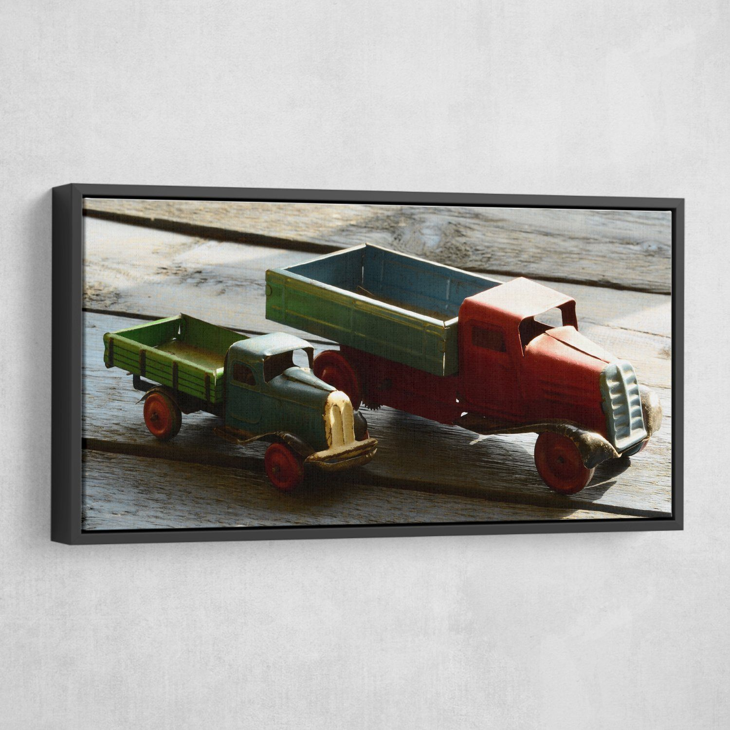 Miniature truck wall art black frame